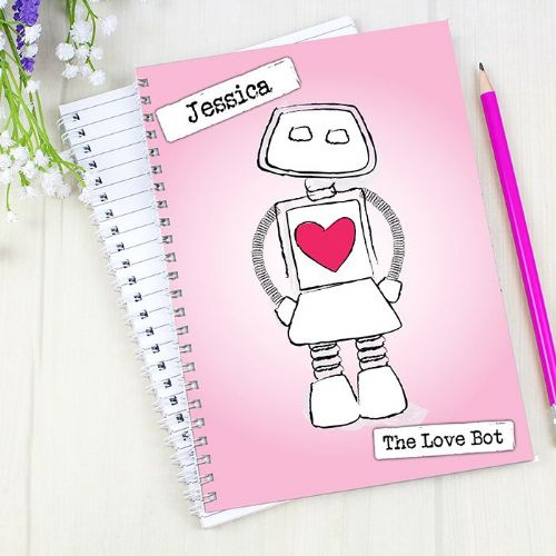 Personalised Love Bot A5 Notebook